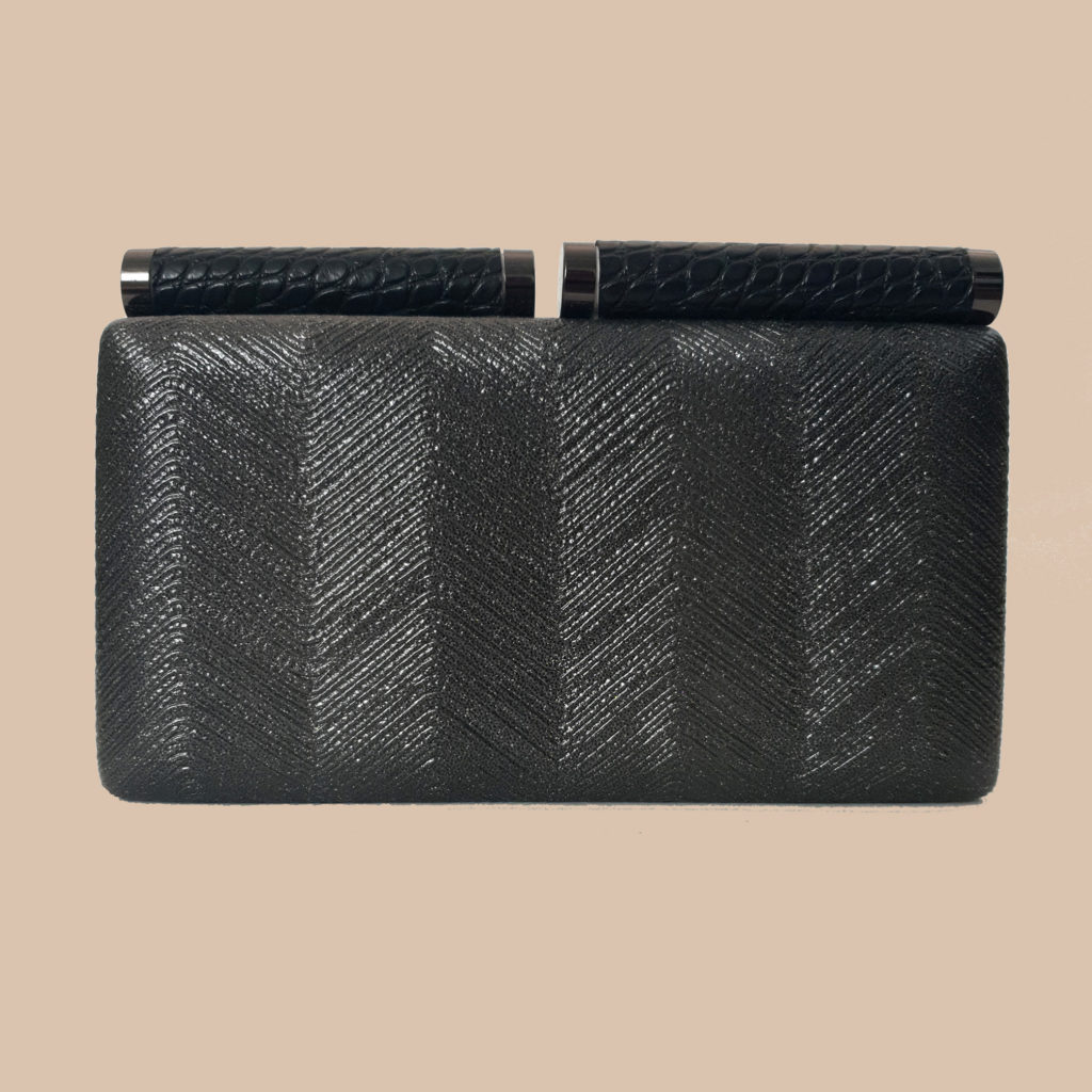 bolso de boda, clutch negro plateado
