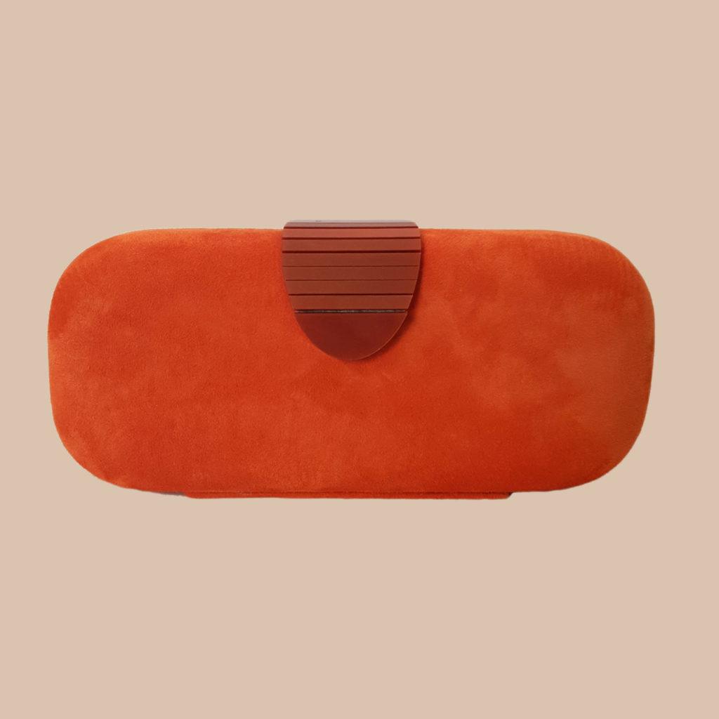bolso de boda, clutch ante naranja